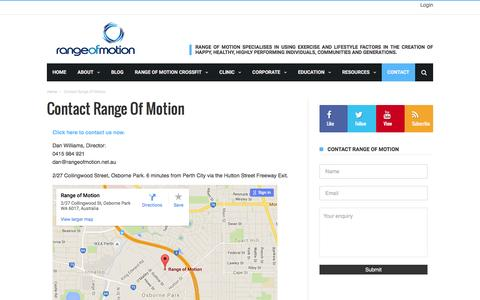 Screenshot of Contact Page rangeofmotion.net.au - Contact Range of Motion | Range Of Motion - captured Feb. 23, 2016