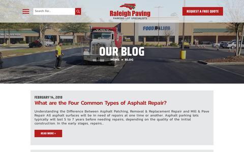 Screenshot of Blog raleighpaving.com - Raleigh Paving Blog | Raleigh Asphalt & Concrete Contractor - captured Oct. 24, 2018
