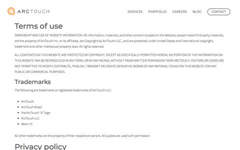Screenshot of Terms Page arctouch.com - Terms of Use and Conditions | ArcTouch - captured Dec. 3, 2019