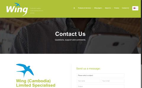 Screenshot of Contact Page wingmoney.com - Contact Wing Mobile Payment Services in Cambodia - captured Sept. 30, 2016