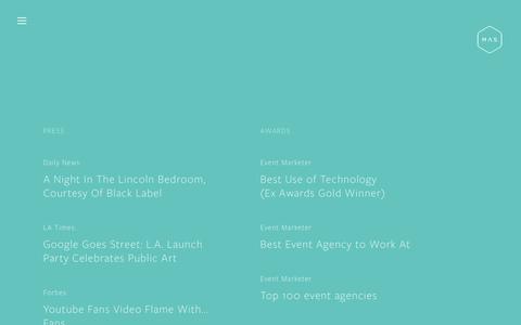 Screenshot of Press Page maseventdesign.com - News — MAS - captured May 11, 2017