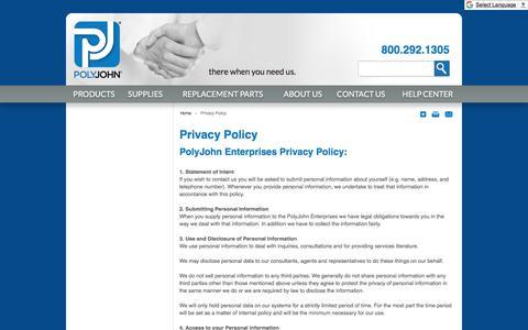 Screenshot of Privacy Page polyjohn.com - Privacy Policy  | PolyJohn - captured Jan. 29, 2018