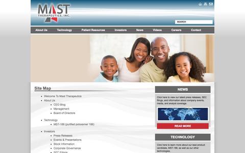 Screenshot of Site Map Page masttherapeutics.com - Site Map  - Mast Therapeutics - captured Sept. 16, 2014