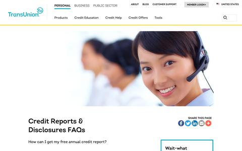 Screenshot of Support Page transunion.com - Credit Reports and Disclosures FAQs |TransUnions - captured Feb. 20, 2019