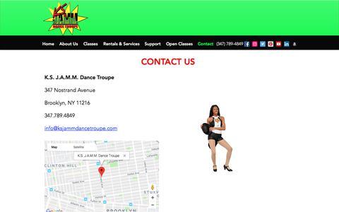 Screenshot of Contact Page ksjammdancetroupe.com - Blank page | K.S. J.A.M.M. Dance Troupe - captured Sept. 20, 2018