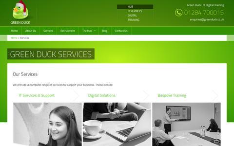 Screenshot of Services Page greenduck.co.uk - Green Duck Services  | IT  Services, Web Design & Software Development, Training | Bury St Edmunds, Suffolk | Green Duck - captured Dec. 14, 2015