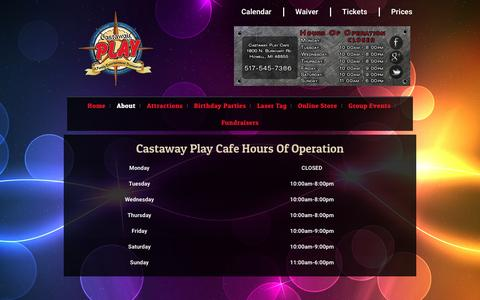 Screenshot of Hours Page castawayplay.com - Hours – Castaway Play Cafe - captured Oct. 26, 2016