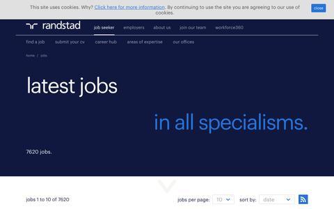 Screenshot of Jobs Page randstad.co.uk - Job Search | Find Latest Jobs & Vacancies | Randstad.co.uk - captured Oct. 6, 2017