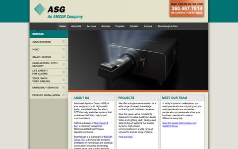Screenshot of Home Page advsysgrp.com - Advanced Systems Group (ASG) :: Home - captured Feb. 5, 2016