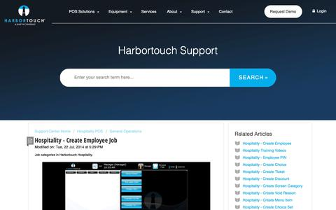 Screenshot of Support Page harbortouch.com - Hospitality - Create Employee Job : Harbortouch Support Center - captured Oct. 9, 2018