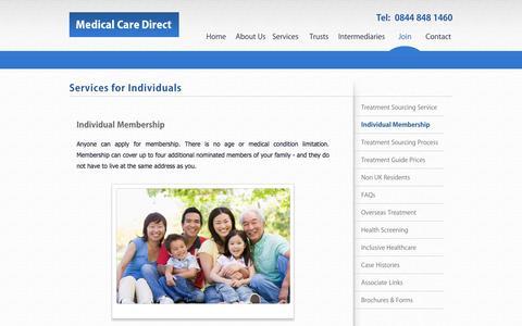Screenshot of Signup Page medicalcaredirect.co.uk - Individual Membership - Medical Care Direct - captured Oct. 27, 2014