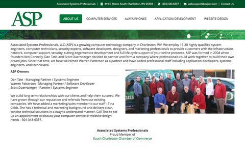 Screenshot of About Page aspwv.com - Computer Services Website Design Website Development AVAYA Phones Charleston WV | Associated Systems Professionals (ASP) - captured Nov. 19, 2016