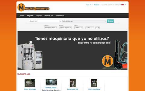 Screenshot of Home Page maquinacommerce.com - Maquina Commerce - Maquinaria industrial de segunda mano y ocasión - captured Sept. 29, 2014