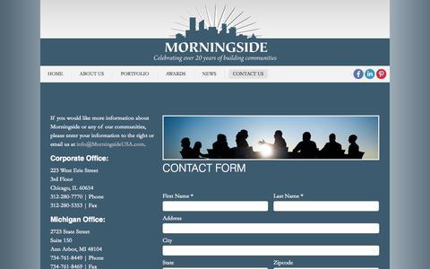 Screenshot of Contact Page morningsideusa.com - Contact Us   Morningside USA - captured Oct. 26, 2014