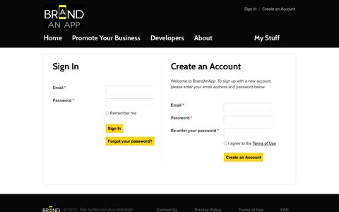 Screenshot of Signup Page Login Page brandanapp.com - Brand an App - captured Oct. 23, 2014