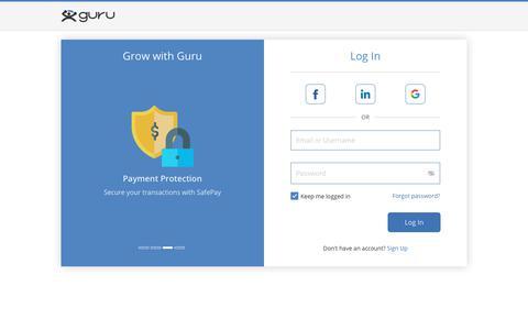 Screenshot of Login Page guru.com - Sign In to hire freelancers and find freelance jobs - Guru - captured July 21, 2019