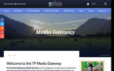 Screenshot of Press Page tourismpembertonbc.com - Tourism Pemberton Media Gateway - captured Jan. 22, 2017