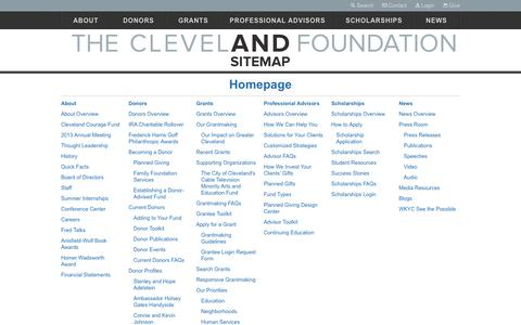 Screenshot of Site Map Page clevelandfoundation.org - Sitemap | The Cleveland Foundation - captured Sept. 13, 2014