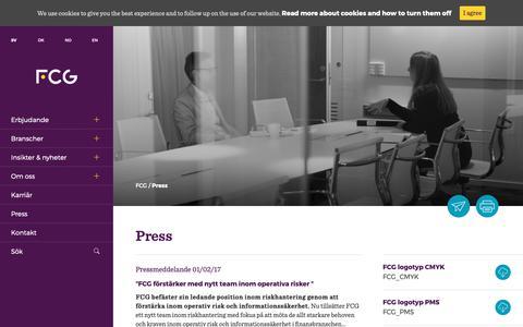 Screenshot of Press Page fcg.se - Press - FCG - captured Oct. 10, 2018