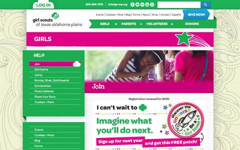 Screenshot of Signup Page gs-top.org - Join | Girl Scouts of Texas, Oklahoma Plains - captured Oct. 2, 2014