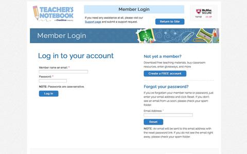 Screenshot of Login Page teachersnotebook.com - Log in to Teacher's Notebook | - captured Sept. 22, 2014