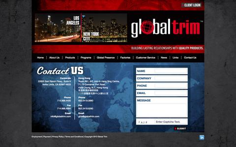 Screenshot of Contact Page globaltrim.com - Contact Us | Global Trim - captured Sept. 30, 2014