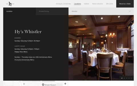 Screenshot of Locations Page hyssteakhouse.com - Hy's Steakhouse & Cocktail Bar — Whistler - captured Sept. 30, 2018