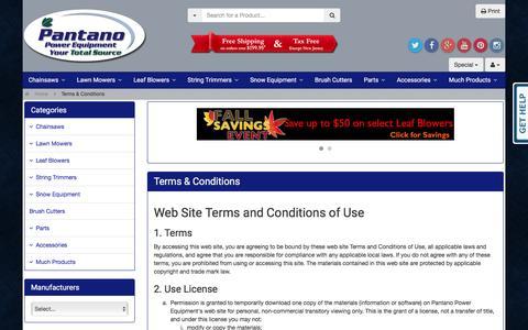 Screenshot of Terms Page pantanopowerequipment.com - Terms & Conditions - Pantano Power Equipment - captured Dec. 7, 2015