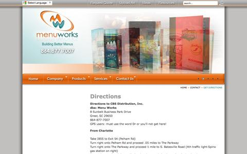 Screenshot of Maps & Directions Page menuworks.net - Directions - captured Oct. 27, 2014