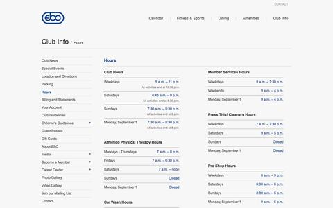 Screenshot of Hours Page eastbankclub.com - East Bank Club – Hours - captured Sept. 23, 2014
