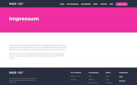 Screenshot of passnfly.com - Passnfly - Impressum - captured May 2, 2017