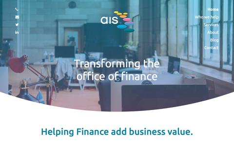 Screenshot of Home Page ais-cfo-solutions.com - AIS Consulting | Transforming the office of finance - captured July 31, 2018