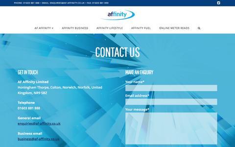 Screenshot of Contact Page af-affinity.co.uk - Contact us   AF Affinity - captured July 23, 2016