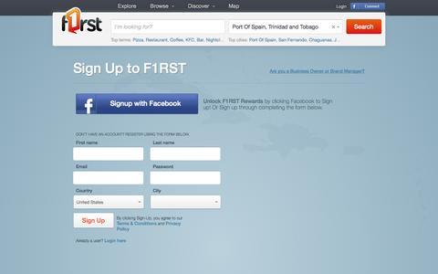 Screenshot of Signup Page f1rst.com - F1RST - Sign Up - captured Sept. 22, 2014