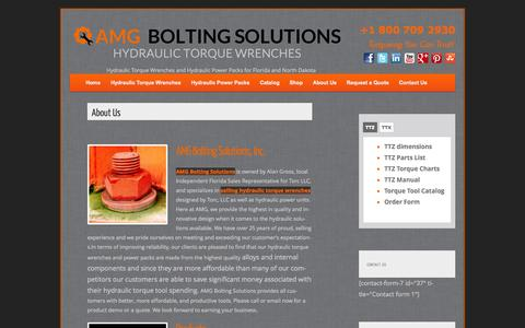Screenshot of About Page amgtorque.com - About AMG Bolting Solutions: Hydraulic Power and Torque Wrenches - captured Oct. 4, 2014