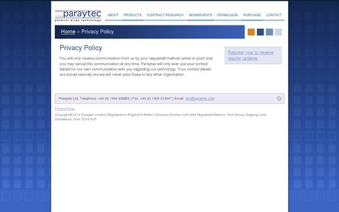 Screenshot of Privacy Page paraytec.com - Privacy Policy | Paraytec - captured July 19, 2014
