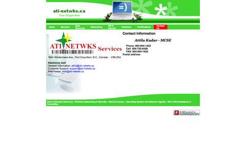 Screenshot of Contact Page ati-netwks.ca - ati-netwks.ca - Contact Us - captured Oct. 4, 2014