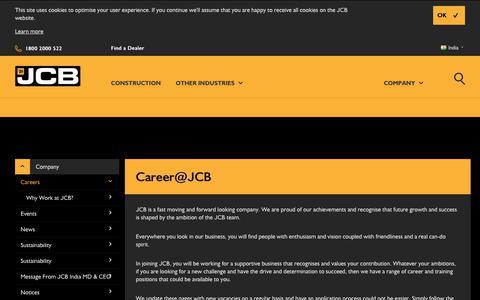 Screenshot of Jobs Page jcb.com - Career@JCB - captured June 27, 2017