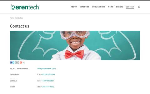Screenshot of Contact Page kerentech.com - Contact us - captured Sept. 20, 2018