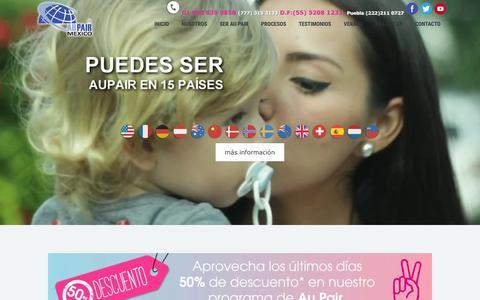 Screenshot of Home Page aupairmexico.com - Au Pair Mexico – Colocación de AuPair's en el extranjero. - captured March 17, 2016