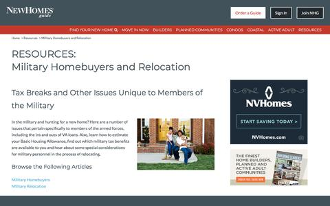 Military Homebuyers and Relocation, Tax Breaks and Other Issues Unique to Members of the Military - New Homes Guide