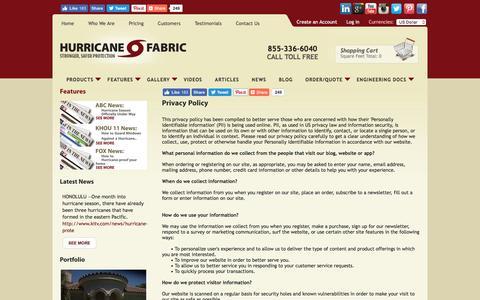 Screenshot of Privacy Page hurricanefabric.com - Hurricane Fabric  - Privacy Policy - captured Nov. 15, 2016