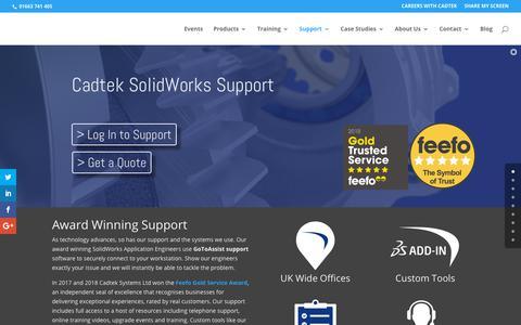 Screenshot of Support Page cadtek.com - SolidWorks Support from Cadtek Systems - Premium Technical Assistance - captured Sept. 26, 2018