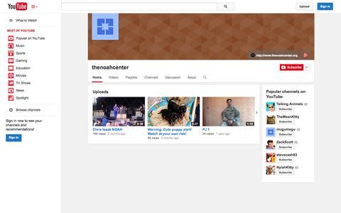Screenshot of YouTube Page youtube.com - thenoahcenter  - YouTube - captured Oct. 26, 2014