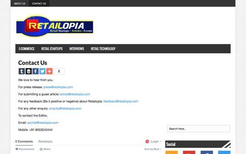 Screenshot of Contact Page retailopia.com - Contact Us - Retailopia - captured Jan. 15, 2016