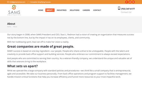 Screenshot of About Page getsamsnow.com - About SAMS | Strategy and Management Services, Inc. - captured March 12, 2019
