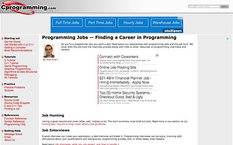 Screenshot of Jobs Page cprogramming.com - Programming Jobs - Cprogramming.com - captured Sept. 22, 2017