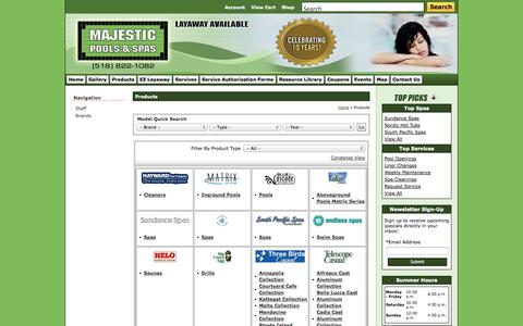 Screenshot of Products Page majesticpoolsandspas.com - Products Majestic Pools & Spas LTD Hudson, NY 518-822-1082 - captured Oct. 4, 2014