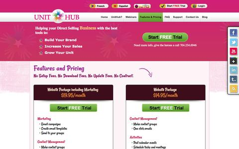 Screenshot of Pricing Page unithub.com - Pricing - captured Oct. 7, 2014