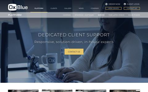 Screenshot of Support Page oxblue.com - OxBlue Support | A Solution-Driven Service for Your Project - captured Nov. 15, 2018
